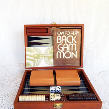 Vintage Magnetic Backgammon Game,Tan Faux Leather Case, 7 x 9 Backgammon,How to Play Backgammon,Travel Backgammon Set,Taiwan,Dice Game