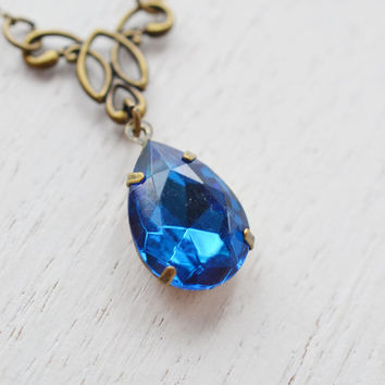 Saphhire Blue rhinestone necklace,gift for her,vintage style,classic design,october birthday,old hollywood style,blue rhinestone necklace