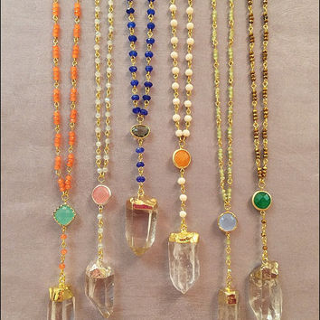 Rosary Style Beaded Gold Dipped Crystal Necklaces - Quartz Crystal