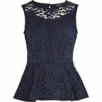 Girls navy lace peplum top - tops - t-shirts / tanks / tops - girls