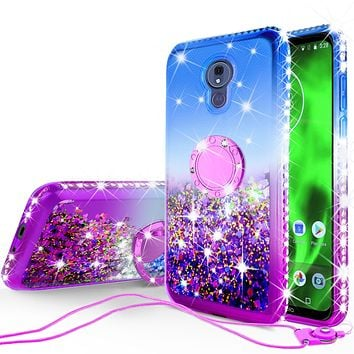 Glitter Phone Cover Kickstand Compatible for Motorola Moto G7   Tmobile REVVLRY Plus Case, Ring Stand Liquid Floating Quicksand Bling Sparkle Protective Girls Women - (Blue Gradient)