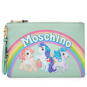 Little Pony Zipped Leather Clutch - Moschino | WOMEN | US STYLEBOP.COM