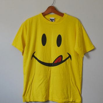 Vintage 80s T Shirt Yellow Smiley Face Shirt 80s Smiley Face Tongue Retro 80s Shirt Raver Club Kid 80s Party by Next Exit Size Medium Large