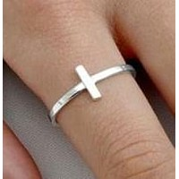 .925 Sterling Silver Christian Cross Sideways Ladies Ring Size 3-10