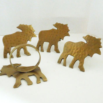 Vintage brass moose napkin rings (set of 4) - Brass napkin rings - Gift for animal lover - Housewarming gifts - Hostess gift