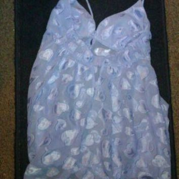 VICTORIA'S SECRET TEDDY TOP LAVENDER HEARTS SIZE MEDIUM