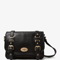 Faux Leather Buckled Satchel