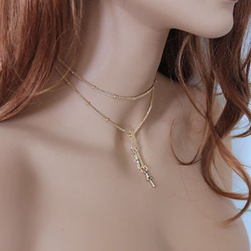 Women's Gold Choker Necklace, Dainty Gold Cross Lariat Necklace, Thin Rose Gold, Gold Religious Jewelry