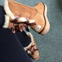 Ugg Fashion Winter Women Cute Bowknot Flat Warm Snow Ankle Boots-19