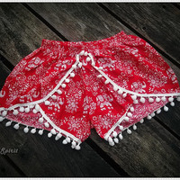 Red Pom Pom Shorts Boho Hobo Beach Hippie Elephant Hipster Rayon Dot Trimming Paisley Clothing Aztec Ethnic Ikat Sleepwear Underwear Trim