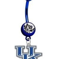 Amazon.com: Kentucky Wildcats PREMIUM Dark Blue Titanium Anodized Sexy Belly Button Navel Ring: Jewelry
