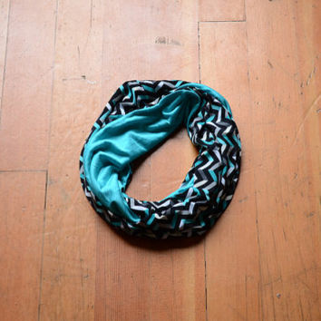 Turquoise Infinity Scarf, Multicolored Scarf, Women's Scarf, Geometric Jersey Scarf, Circle Scarf, Black White Scarf, Turquoise Snood, Cowl