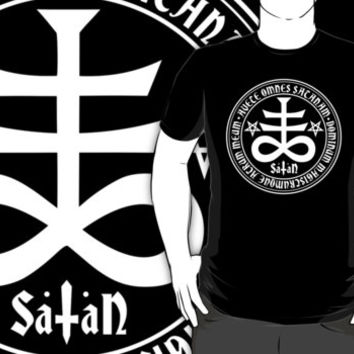 Satanic Cross with Hail Satan Inscription T-Shirt. Pagan occult satanism inverted pentagram goth tee shirt.