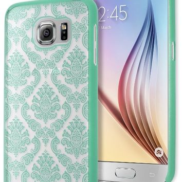 Galaxy S6 Phone Case, Bastex Hard Protective Teal Damask Design Case Cover for Samsung Galaxy S6 G926