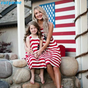 Cutyome Matching Outfits Mother And Daughter Dresses Sleeveless Striped