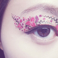 1 Pair of Temporary Tattoo Makeup for Eyes Eyelids Pink Flower Pattern for Spring Summer Clubbing Party Prom