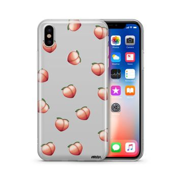 Peach Emoji iPhone & Samsung Clear Phone Case Cover