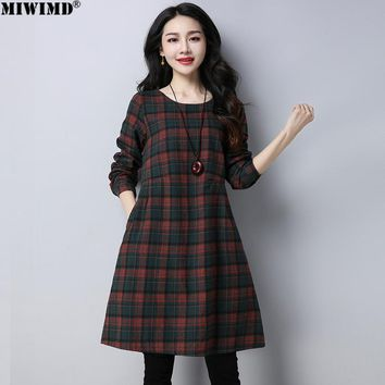 MIWIMD Hot Sale 2018 New Fashion Autumn Winter Women Casual Loose High Quality Cotton Linen Long Sleeves Plaid Dresses Big Size