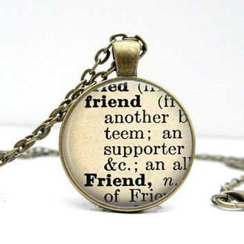 Dictionary Necklace : Friend. Jewelry. Definition Necklace. Pendant.  (1060)