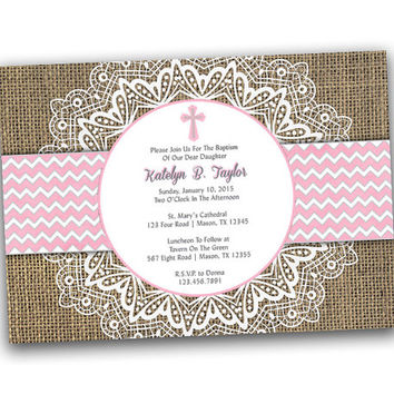 Chevron Pink Burlap & Lace Baptism Invitation for Girls - Christening Invitations - Pink Cross Country Invitation - Girl Baptism Ideas fast