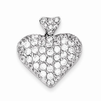 Sterling Silver CZ Puffed Heart Pendant
