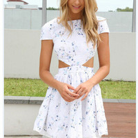 White Floral Mini Dress [6339043009]