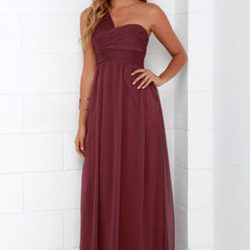 City Soiree Burgundy One Shoulder Maxi Dress