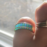 Unique Aperture Ring Turquoise Agate Cylettes Ring by Designer J. Kennedy 14k Yellow Solid Gold Ring Size 6