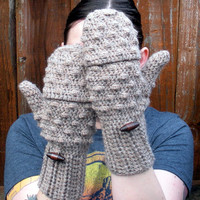 Convertible crochet fingerless glove mittens in Mocha Latte wool blend yarn, MADE TO ORDER.