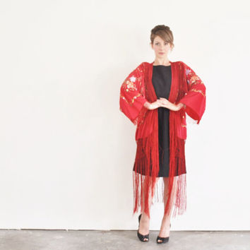 bright red kimono robe with FRINGE . traditional geisha cover up .small.medium.large