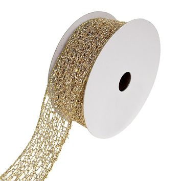 Open Weave Metallic Glitter Tinsel Mesh Christmas Ribbon, Gold/Silver, 1-1/2-Inch, 10 Yards