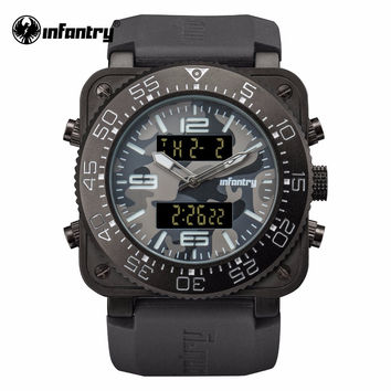 Mens Top Luxury Quartz Watch Military Square Face Watch Water Resistant Rubber Strap