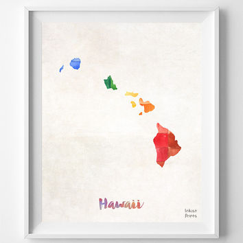 Hawaii Map, Print, State, Honolulu, Artwork, Decor, Poster, Kitchen, Dorm, Bedroom, USA, Wall Art, Gift, Painting, United States [NO 841]