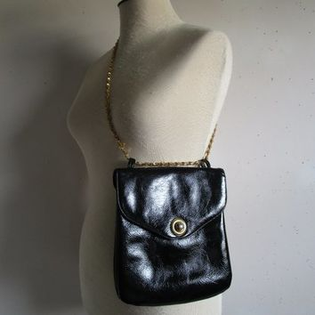 Vintage Leather 70s Black Purse Gold Chain Patent Look 70s Boutique Lilly Handbag Made in Canada
