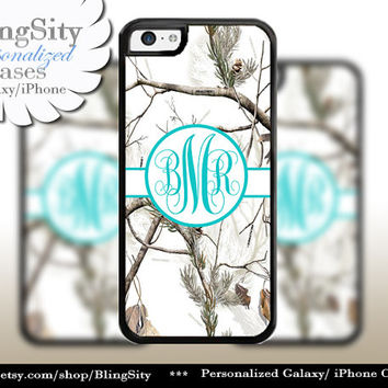 Snow Camo Aqua Monogram iPhone 5C 6 Plus Case iPhone 5s 4 case Ipod White Realtree Personalized Country Inspired Girl