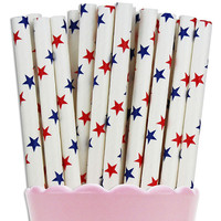 Red & Blue Star Paper Straw