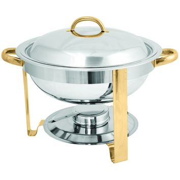 Commercial Stainless Steel 4 Qt. Gold Accented Round Chafer