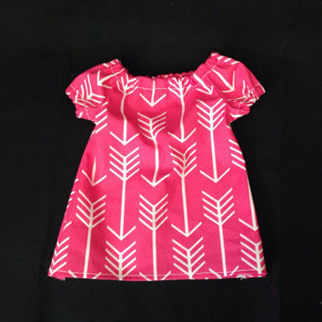 Hot Pink and White Arrow Print Baby Dress, Girls Baby dress, 0 to 3 Months, 3 to 6 Months, 6 to 9 Months, 9 to 12 Months, 12 to 18 Months