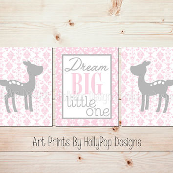 Nursery Wall Decor Baby Girl Nursery Art Prints Pink Gray Damask Wall Art Baby Deer Fawn Nursery Dream Big Little One Nursery Trio Art #0741