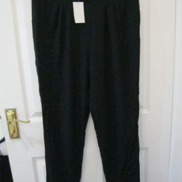 H&M SIZE 10 12 S BLACK TROUSERS TAPERED CHINO LONG WORK VINTAGE OFFICE floaty | eBay