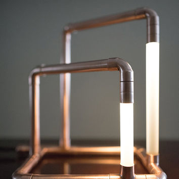 Copper LED Pipe Lamp • The Kennedy • Copper Pipe • Desk Lamp • Accent Lighting • Pipe Light • LED Jewelry Stand