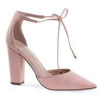Rena13 blush by Breckelle's, Lace-Up D'Orsay Pump, Chunky Block High Heel, Pointed Toe, Open Side