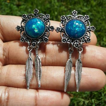 Blue Opal Dreamcatcher Double flare Ear Plugs, Gauges, 6mm, 8mm, 11mm, 13mm, 16mm