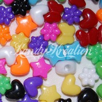 100 Mixed Pony Bead Shapes Stars Flowers butterfly Hearts For Kandi Rave bracelets hair bird toys sparkle Rainbow Craft