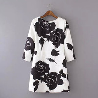 White And Black Rose Print Sleeve Zipper Back Dress