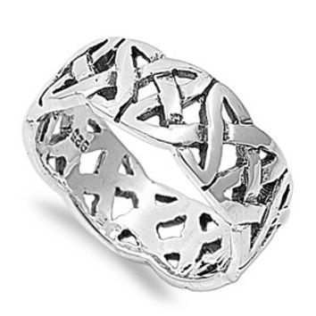 925 Sterling Silver Wiccan Triquetra Thorns Eternity Ring