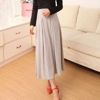 Classic Spring Summer Modal Soft Loose Casual Ruffled Pleated Maxi Long All matched Skirt for Women