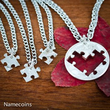 4 Piece Puzzle Heart Necklaces, Family Jewelry