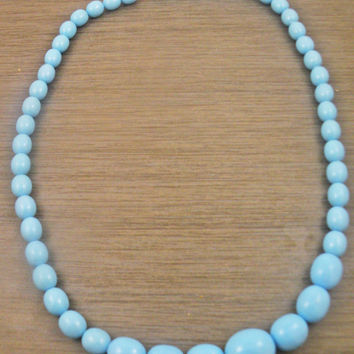 Vintage Robins Egg Blue Plastic Bead Necklace
