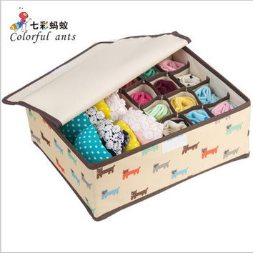 2016 Newest Cute Flowers Animal Pattern Storage Box Bra Underwear Sock Makeup Orgnizer Wardrobe Boxes Clothes Drawer Container